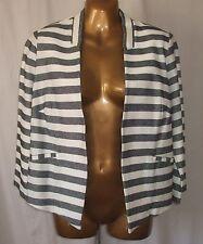 NEXT - Navy & White Edge to Edge Cotton Stripe Jacket  - Size 14 BNWT £34