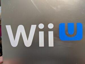 "2 pack Nintendo "" Wii U "" Gloss White and Blue vinyl decal sticker 6"" 1/2 x 2"""