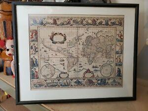Antique World Map Blaeuw Blaeu 1600s Ornamental Framed Lithograph Globe Wall Art