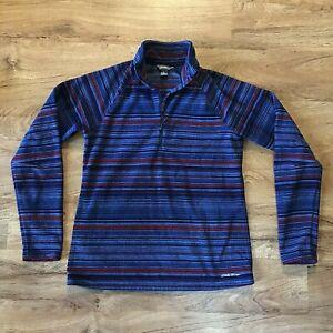 Eddie Bauer Fleece Womens Medium 1/4 Zip Pullover Blue Striped Long Sleeve