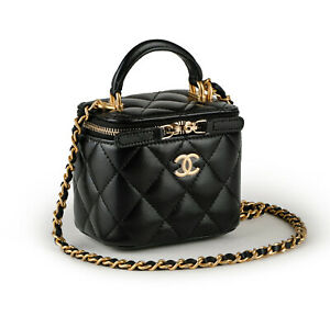 CHANEL 21A Small Vanity Chain Top Handle Black Quilted Leather GHW Shoulder Bag