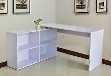FoxHunter L-Shaped Corner Computer Desk PC Table Home Office Study CD12 White