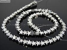 Natural Hematite Gemstone Flat Star Beads 16'' 6mm 8mm 10mm Black Silver Gold