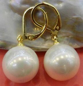 Beautiful 14mm South Sea White Round Shell Pearl Gold Dangle Earrings AAA Grade