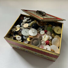 Lot of Assorted Buttons In Tin. Includes Vintage ~ 2 Pounds ~ Sewing Crafts