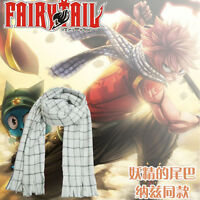 US! Anime Fairy Tail Natsu Dragneel Scarf Cosplay Costume White Warm Gift Prop