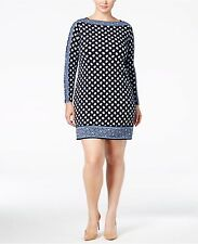 Michael Kors Plus Size 1X Border-Print Sheath Dress New Navy Bergalia NWT
