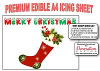 Merry Christmas - Stocking A4 ICING Edible Cake Topper Decoration Xmas Presents