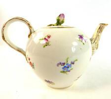 Antica teiera porcellana tedesca Meissen Sparsi Fiore Flower Bud Finial
