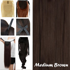US Lady Long Ponytail Drawstring Tie Clip in Hair Extensions Extension Black A89