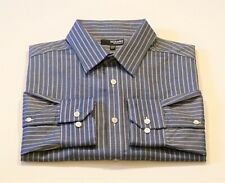 Murano Mens XLT Blue White Striped Roll Tab Long Sleeve Mitered Cuff Dress Shirt