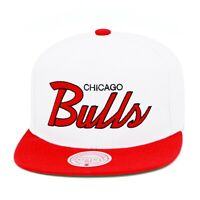 Mitchell & Ness Chicago Bulls Snapback Hat Cap 2-tone White/Red/Script
