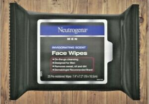 NEUTROGENA MENS FACE WIPES 25 COUNT INVIGORATING SCENT (2 Packs - 50 Wipes Total