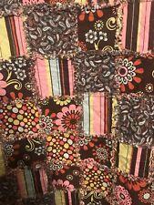 Brown Pink Green Rag Quilt Blanket Throw 52 X 58