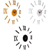 EG_ DIY 3D Wall Clock Mirror Sticker Metal Watches Roman Numeral Home Decor Surp