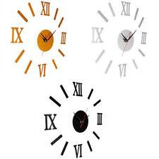EG _ DIY 3D Horloge murale miroir autocollant métal Montres chiffre romain
