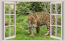 Leopard  Window View Repositionable Color Wall Sticker Wall Mural 3 FT WIDE