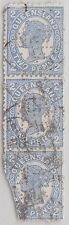 (XR67) 1906 QLD 2d blue QVIC 3strip (last stamp damaged