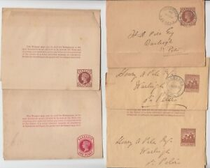 BARBADOS 1899/1905 5x news paper wrappers 2x used 2x mint 1x used not cancelled