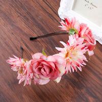 Women's Flower Crown Wedding Festival Headband Hairband Garland Floral Hair Hoop