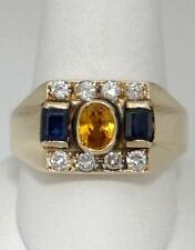 MENS 14K YELLOW GOLD 1ct OVAL CITRINE SAPPHIRE 1/2ct DIAMOND WIDE BAND RING 12mm