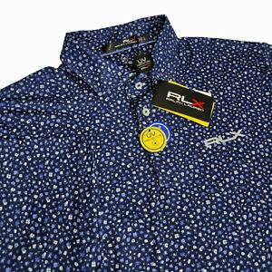 RLX Ralph Lauren Mens Medium Large UPF UV Protection Floral Golf Polo Shirt