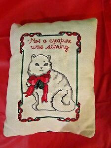 """Handmade Cross Stitch Christmas Cat Pillow 6"""" x 8"""" Red & Green Embroidered Cute!"""