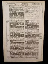1611 KING JAMES BIBLE LEAF PAGE *BOOK OF LEVITICUS 20:16-22:12 *LAWS & ORDINANCE