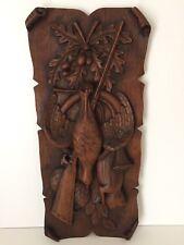 Altes Holz Wandbild Relief Geschnitzt Wandrelief Jagd Fasan Eichenlaub