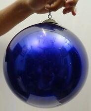 ANTIQUE KUGEL GLASS FINE ORIGINAL BRASS CAP CHRISTMAS GIFT ORNAMENTS BLUE COLOR