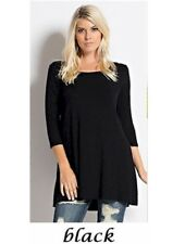 Womens Tunic Top 3/4 Sleeve Dress Round Neck Rayon S M L XL Plus 1X 2X 3X USA