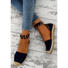 Womens Ladies Flat Peep Toe Sandals Espadrilles Summer Holiday Pumps Shoes Sizes
