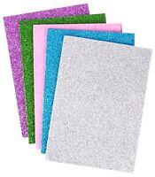 10 x GLITTER FOAM SHEETS A5 Blue Green Pink Purple Silver Art Craft Hobby Cards