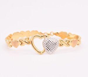 Hearts & Kisses Diamond Cut Bracelet 14K Yellow White Gold Clad Silver 925