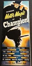 "VINTAGE 1948 CHAMPION OUTBOARD MOTOR SALES BROCHURE NICE  9"" X 21""  (821)"