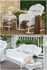 White 3 Piece Resin Wicker Outdoor Patio Swing Seating Collection Furniture