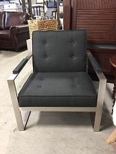 Malone Metal Frame Chair Black Charcoal Upholstery Modern Southern Furniture Co