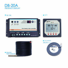 20A Dual Solar Battery Charge Controller Use RVs Caravans Bus+MT1 Remote Meter