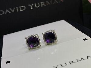 David Yurman Silver 925 Chatelaine 9mm Amethyst Diamond Stud Earrings