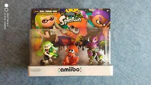 New! Nintendo Splatoon Series 3-Pack (Alt) Colors amiibo Girl, Squid, & Boy.