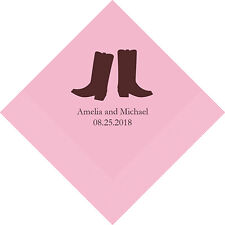 300 Western Boots Cowboy Theme Personalized Wedding Luncheon Napkins