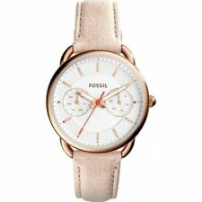 Fossil Tailor Washed Brown Leather Rose Gold Tone Multifunction Watch ES4007 NWT