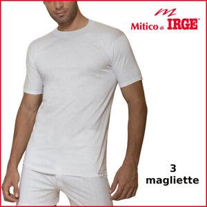 3 maglia intima da uomo in cotone maglietta girocollo t-shirt manica corta irge