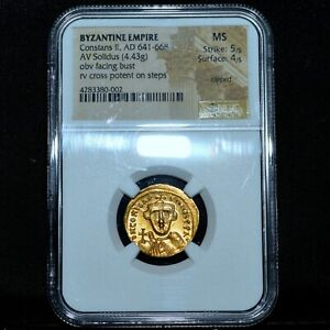 641-668 GOLD BYZANTINE ANCIENT SOLIDUS ✪ CONSTANS II ✪ NGC MS 5/4 CLIP ◢TRUSTED◣