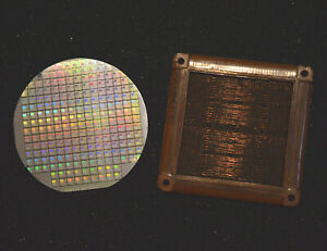 Magnetic core memory, 2N1613 transistor, plus 4 inch silicon wafer of CPU chips