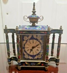 "Working Vintage Chinese Cloisonne Enamel Clock 8"" High, 7"" Wide, 2.5"" Deep"