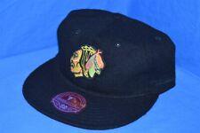 CHICAGO BLACKHAWKS NHL HOCKEY WOOL LOW PROFILE BLACK MITCHELL NESS HAT 7 7/8