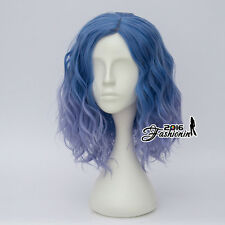 35CM Women Mixed Blue Curly Synthetic Cosplay Heat Resistant Lolita Style Wig