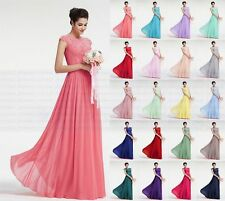 Long Chiffon Lace Evening Formal Ball Gown Party Prom Bridesmaid Dress Size 6-24