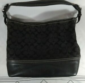 Coach Handbag Black Leather and Canvas LOGO Purse No. B063-2156